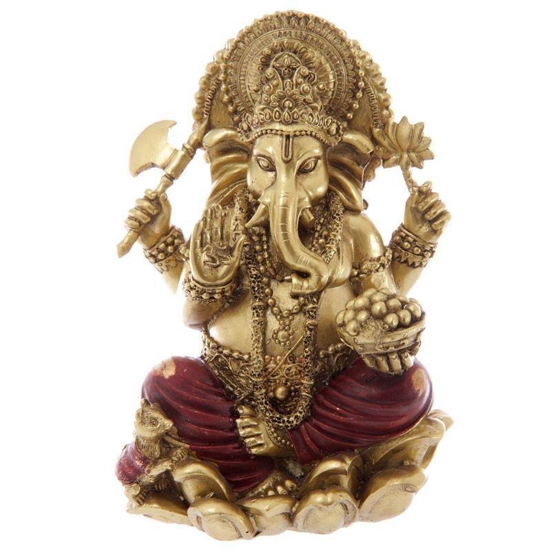Gold und Rot Ganesha Statue 16cm