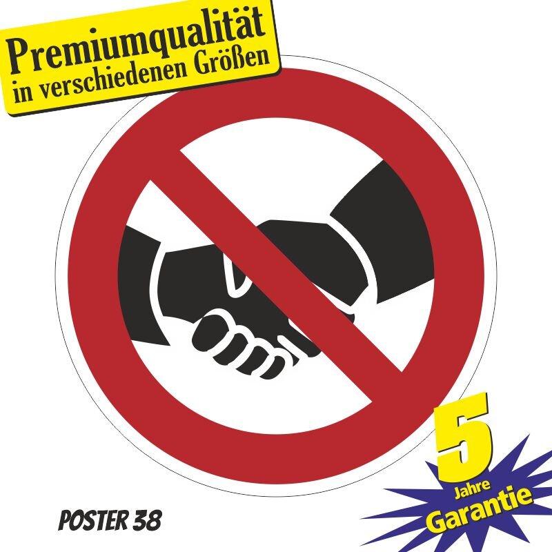 """Aufkleber """"Don`t Touch, don´t shake hands, keine Hände schütteln"""" Premiumqualität verschiedene Größen"""