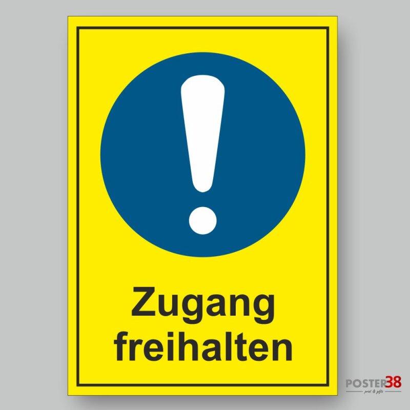 """Aufkleber """"Zugang freihalten"""" Allgemeines Gebotszeichen Premiumqualität mit gelbem Hintergrund"""