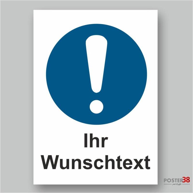 """Aufkleber """"Wunschtext"""" Allgemeines Gebotszeichen, DIN ISO 7010"""