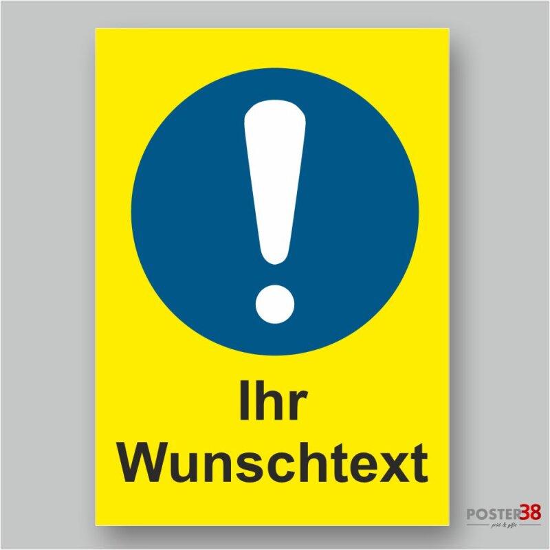 """Aufkleber """"Wunschtext"""" Allgemeines Gebotszeichen, Hintergrund gelb, DIN ISO 7010"""