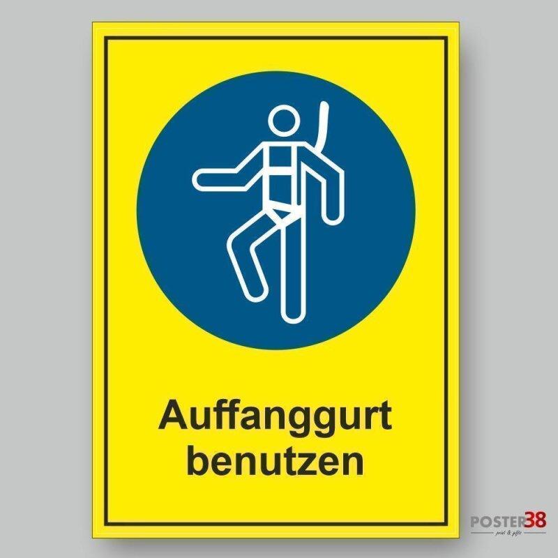 """Aufkleber """"Auffanggurt benutzen"""" Gebotszeichen Premiumqualität mit gelbem Hintergrund"""