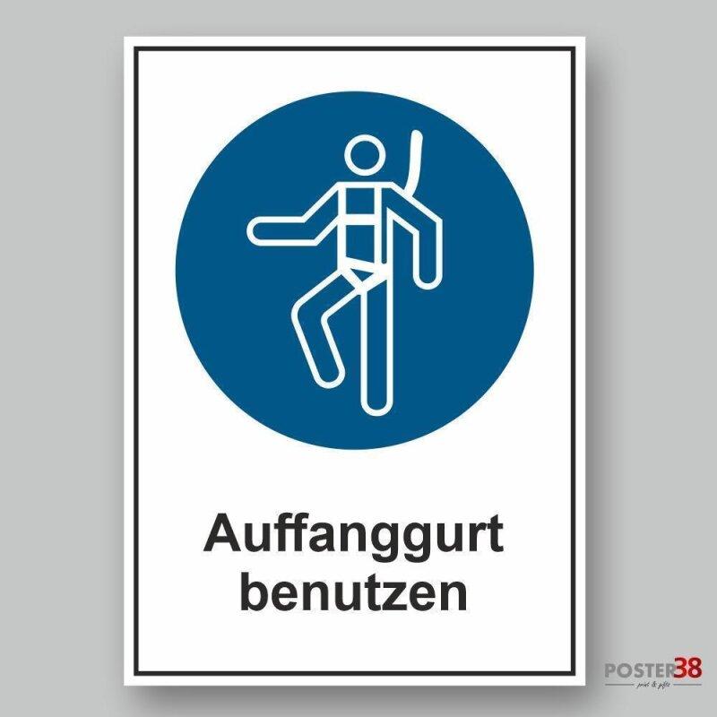 """Aufkleber reflektierend  """"Auffanggurt benutzen"""" Gebotszeichen Premiumqualität"""