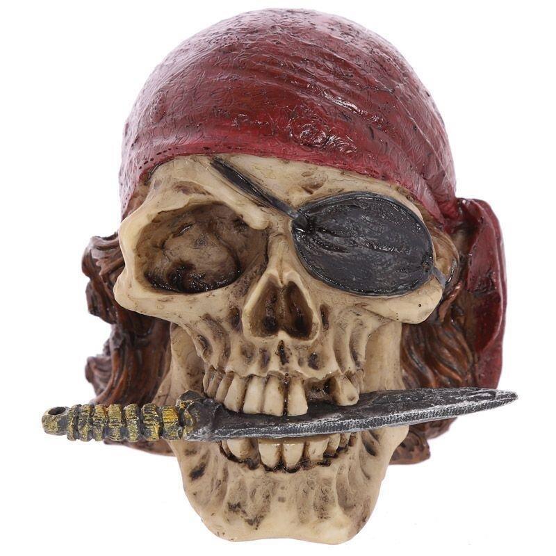 Piraten Schädel Deko mit Kopftuch und Schwert