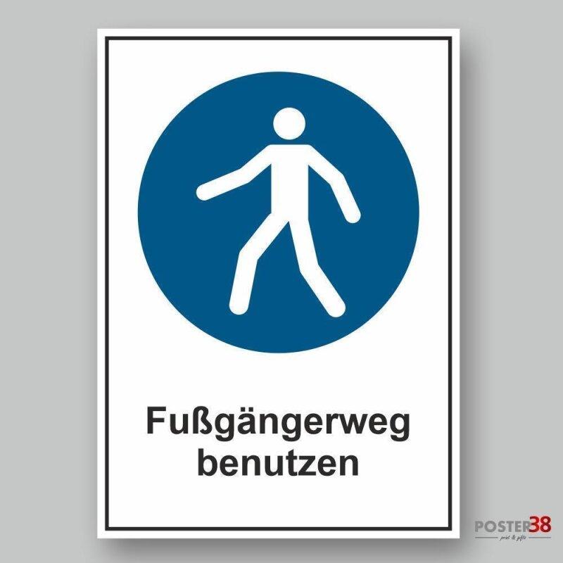 """Aufkleber """"Fußgängerweg benutzen"""" Gebotszeichen, Premiumqualität, DIN ISO 7010"""