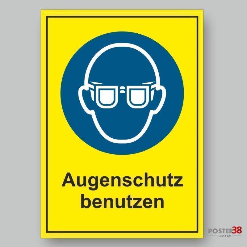 """Aufkleber """"Augenschutz benutzen"""", gelber Hintergrund, Gebotszeichen Premiumqualität"""