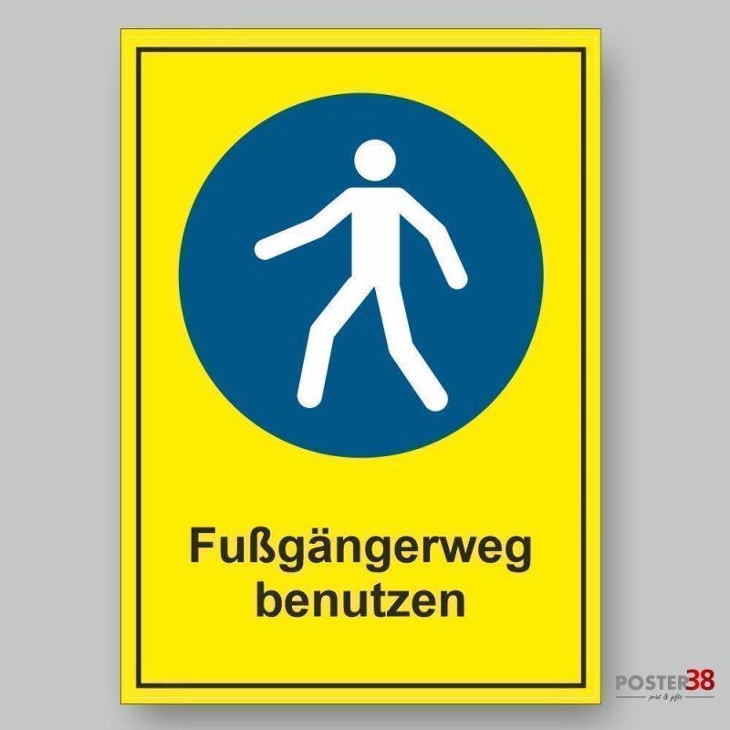 """Aufkleber """"Fußgängerweg benutzen"""", gelber Hintergrund, Gebotszeichen, Premiumqualität, DIN ISO 7010"""