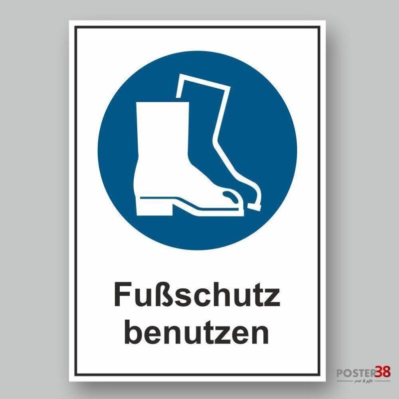 """Aufkleber """"Fußschutz benutzen"""", DIN ISO 7010"""