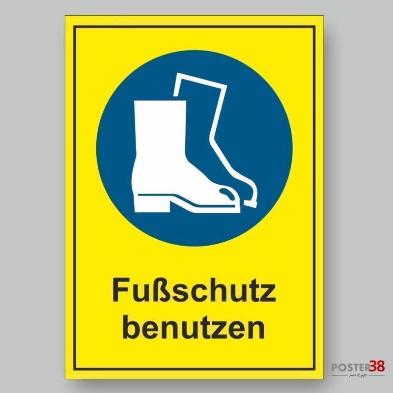 """Aufkleber """"Fußschutz benutzen"""", Hintergrund gelb, DIN ISO 7010"""