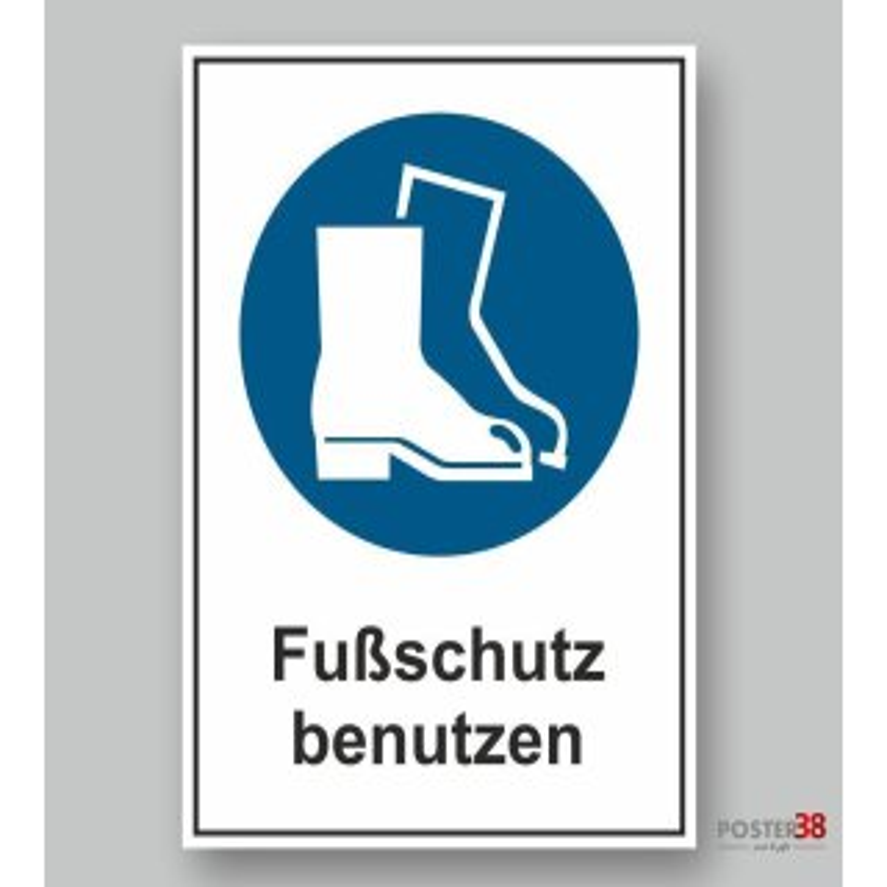 """Aufkleber """"Fußschutz benutzen"""", reflektierend, DIN ISO 7010"""