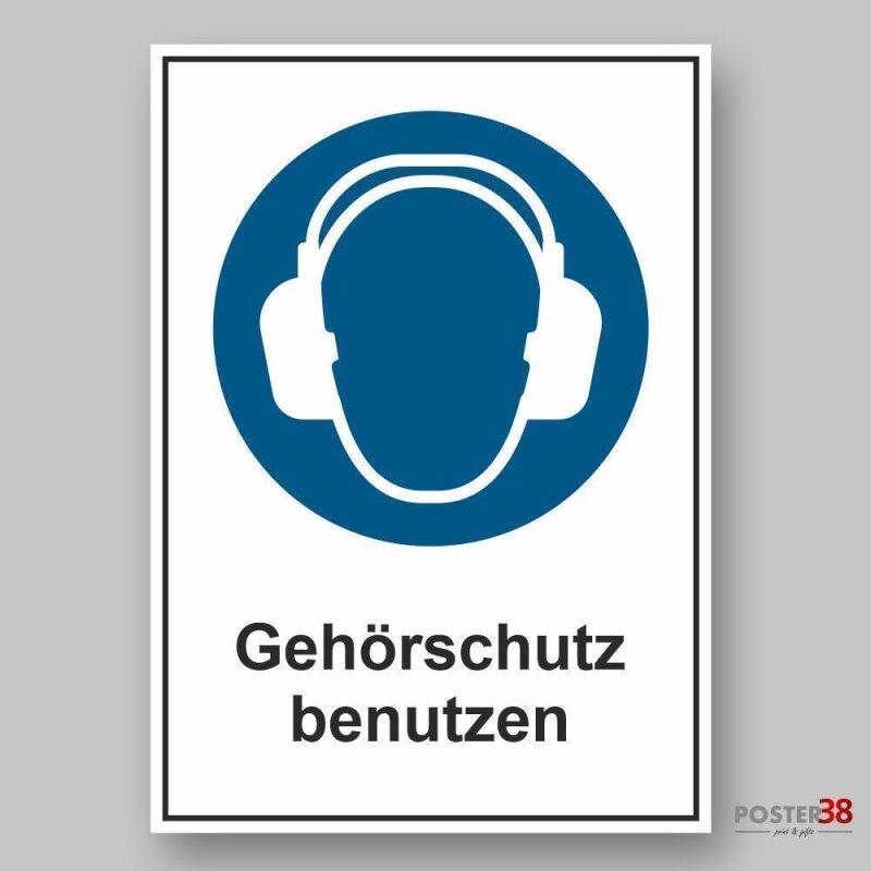 """Aufkleber """"Gehörschutz benutzen"""", DIN ISO 7010"""