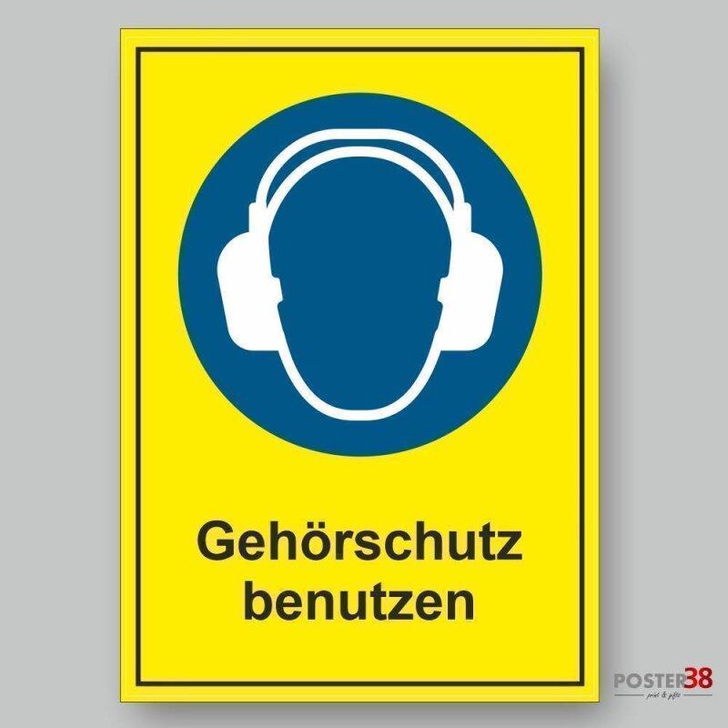 """Aufkleber """"Gehörschutz benutzen"""", Hintergrund gelb, DIN ISO 7010"""
