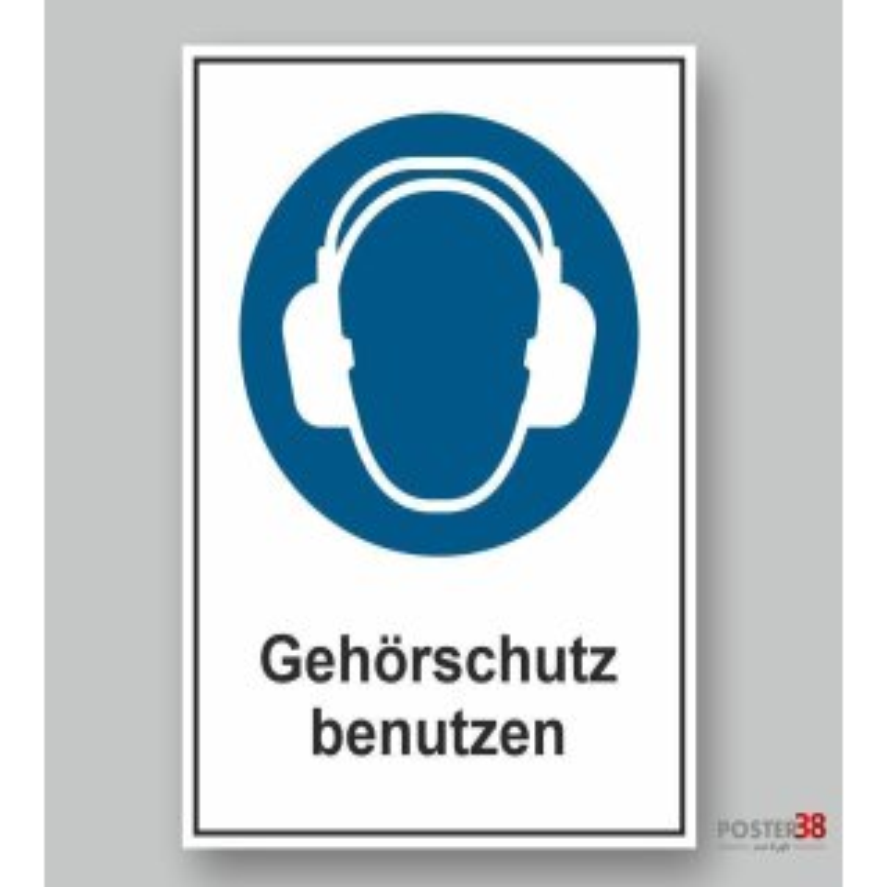 """Aufkleber """"Gehörschutz benutzen"""", reflektierend, DIN ISO 7010"""
