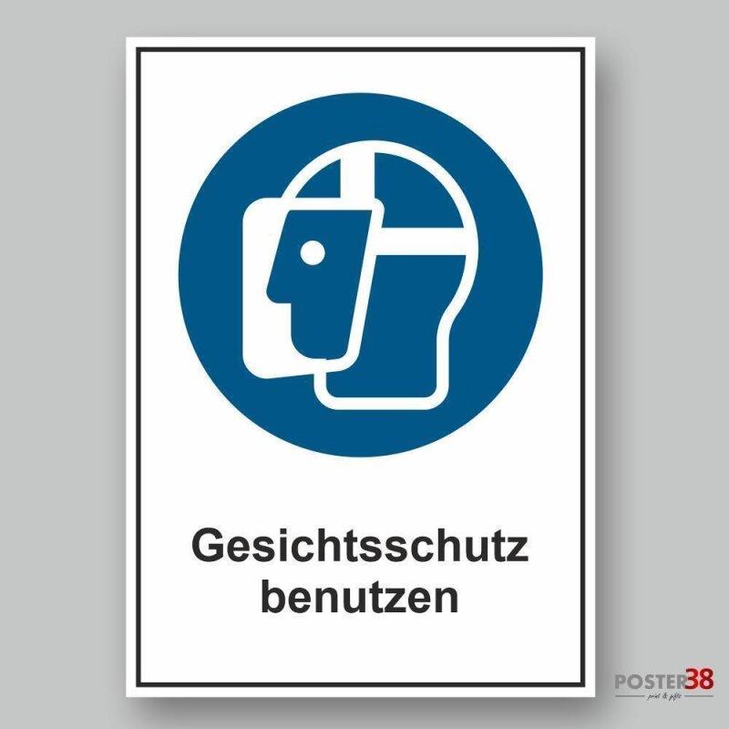 """Aufkleber """"Gesichtschutz benutzen"""", DIN ISO 7010"""