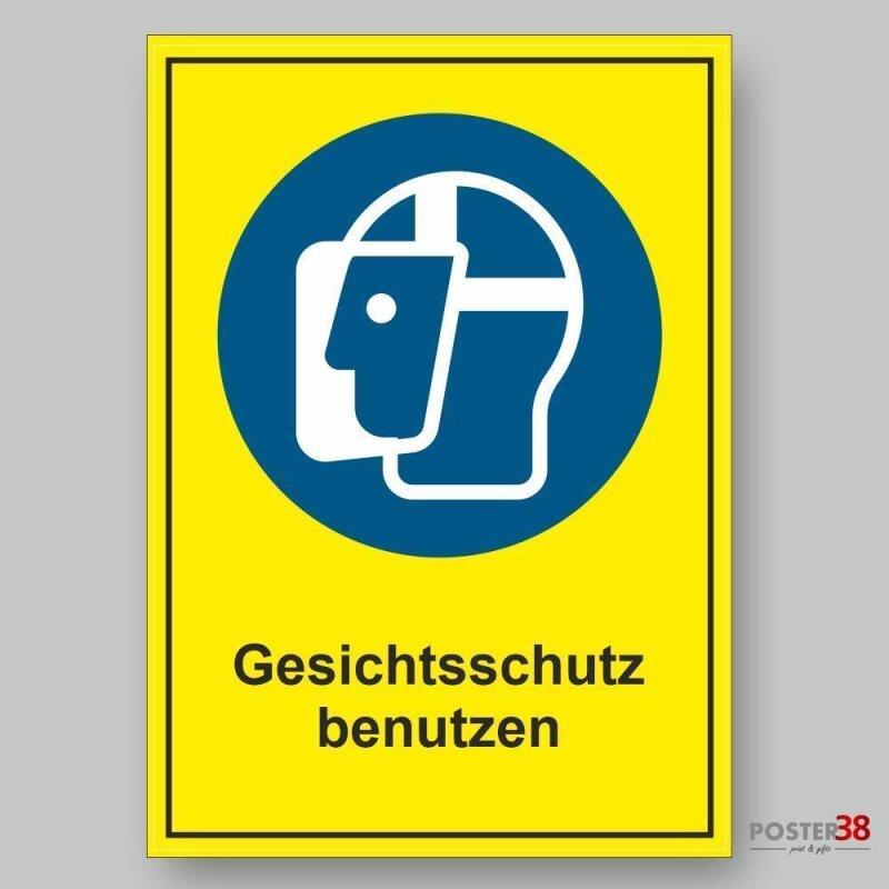 """Aufkleber """"Gesichtschutz benutzen"""", Hintergrund gelb, DIN ISO 7010"""
