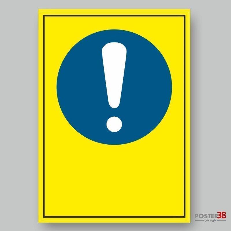 """Aufkleber """"Allgemeines Gebotszeichen"""", Hintergrund gelb, verschiedene Größen, DIN ISO 7010"""