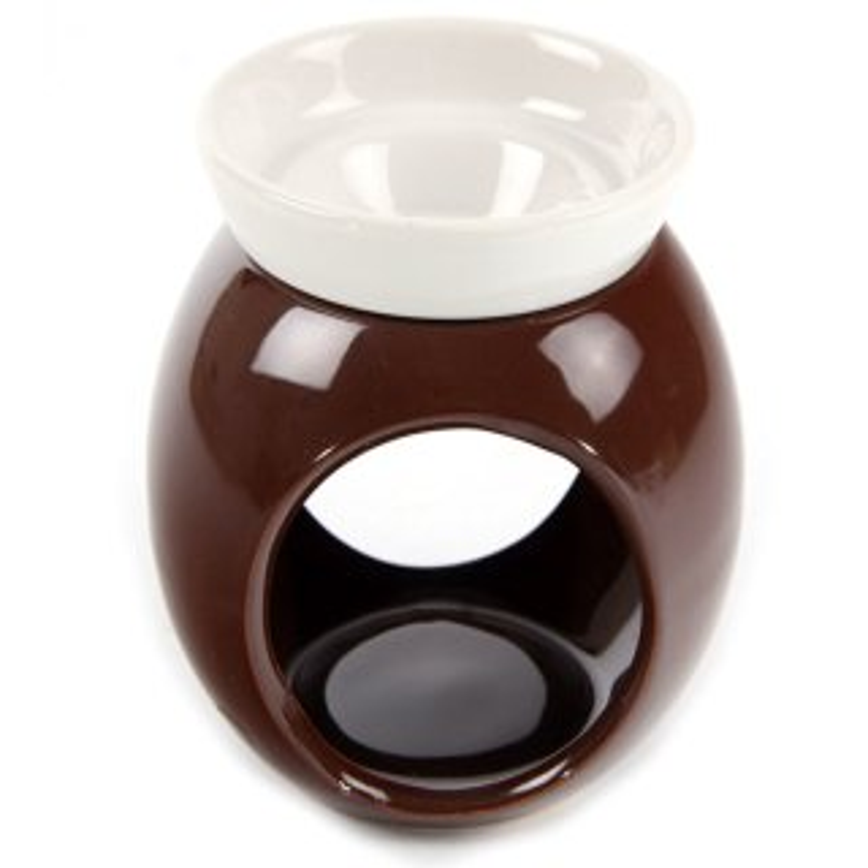 Keramik Duftlampe Braun Weiß