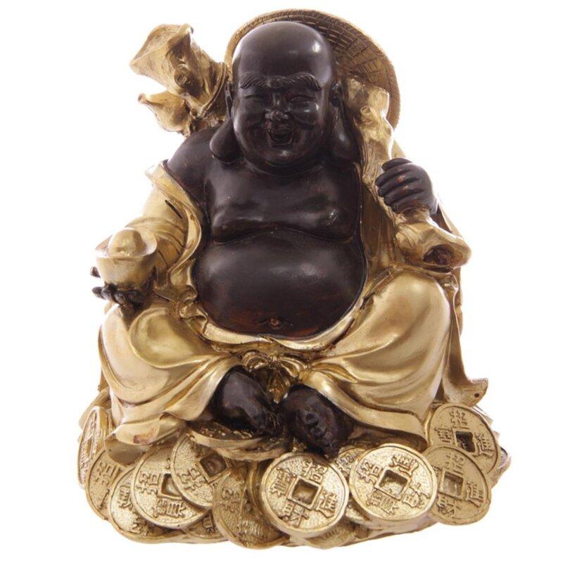 Goldener Buddha sitzend auf Reichtum