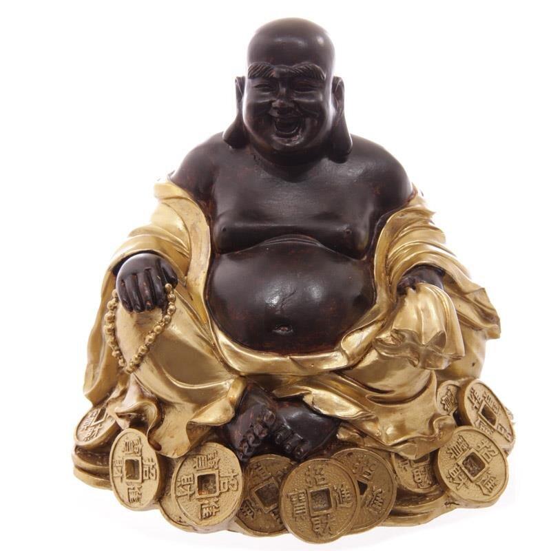 Goldener Buddha mit Kette, sitzend auf Reichtum
