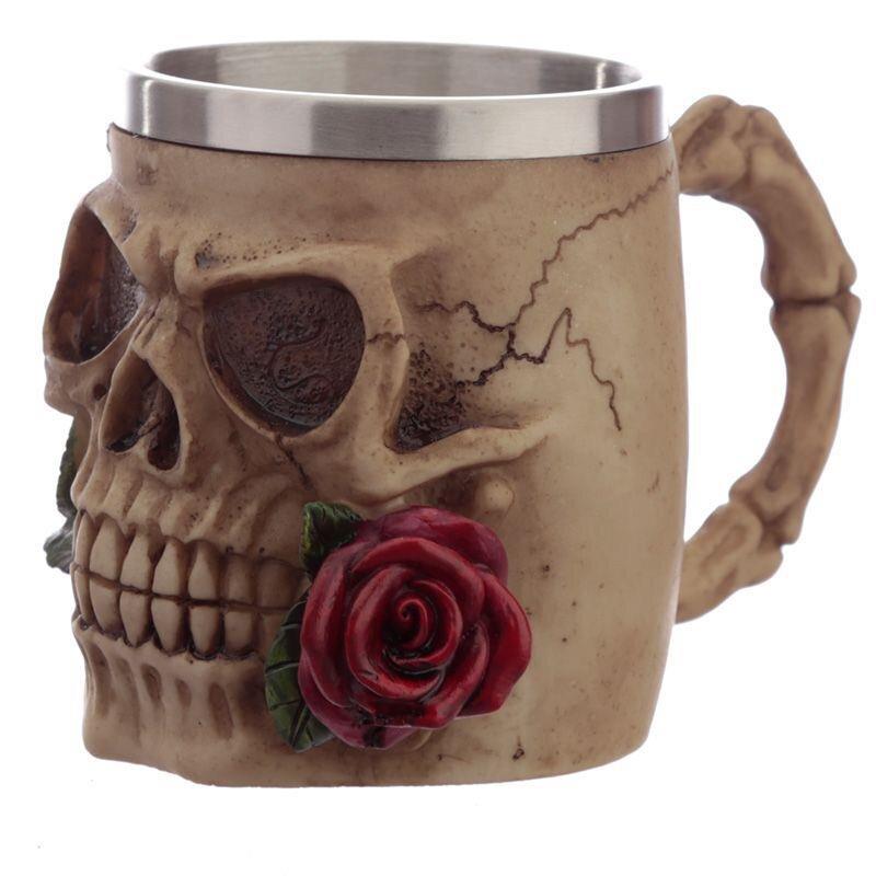 Skull and Roses Krug rote Rose - Nur Dekoration