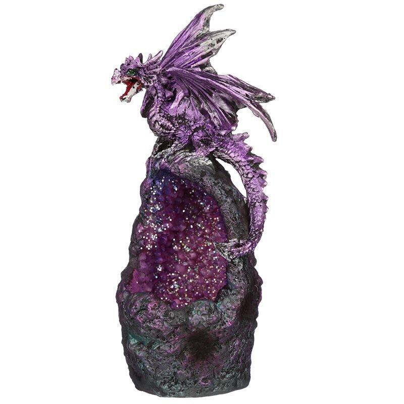 Drache violett auf Kristallhöhle mit LED beleuchtet