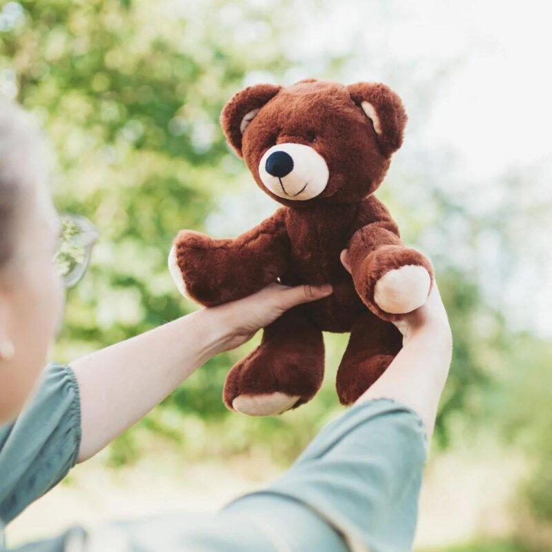 RecycelBär cremefarben, Größe S, superweicher Teddy