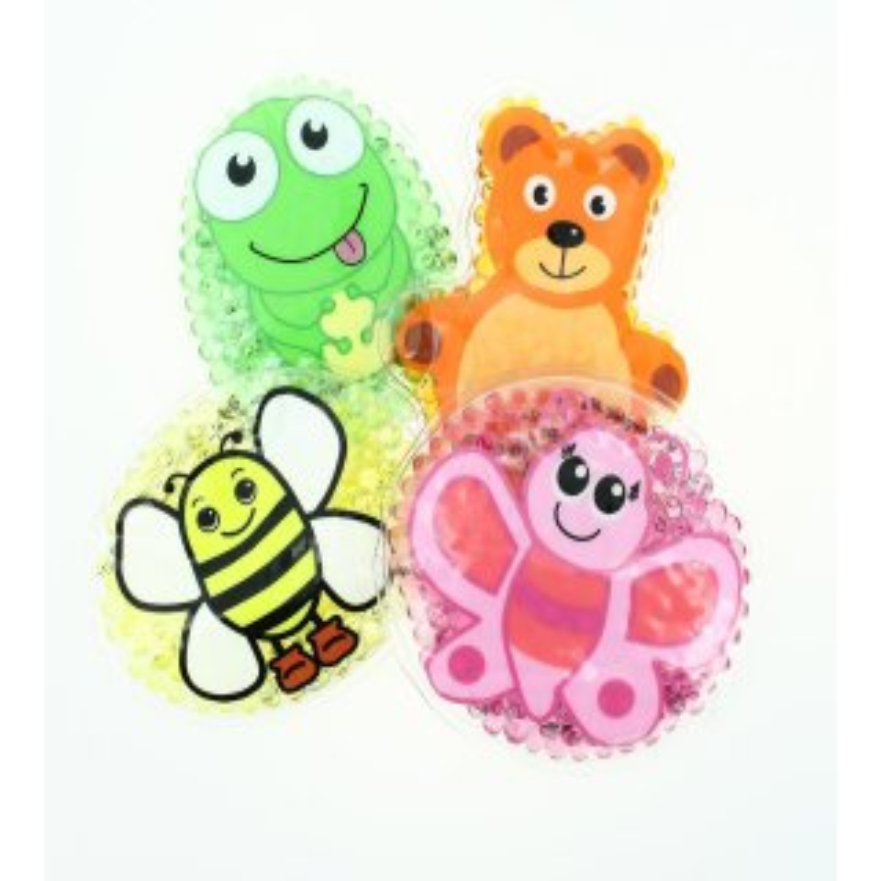 4 Kühlpads Frosch, Biene, Schmetterling, Teddybär