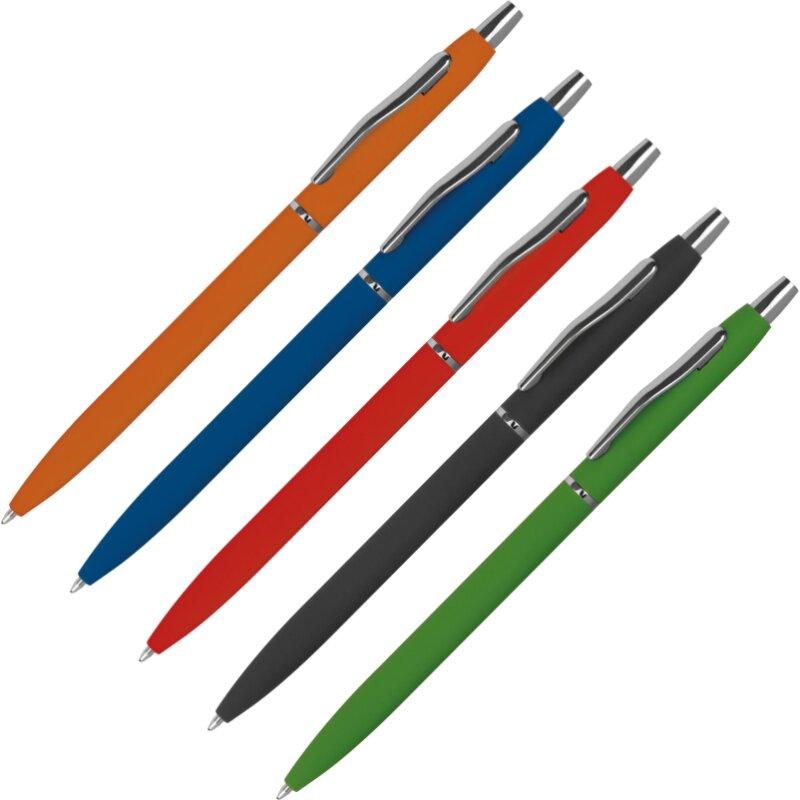 Hochwertiges, gummiertes Kugelschreiberset, 5 Farben