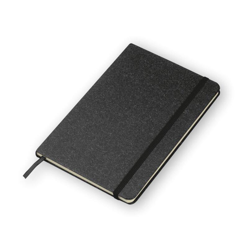 Notizbuch A5, Hardcover in schwarz - Stiftschlaufe, Lesezeichen, 160 Seiten gepunktet