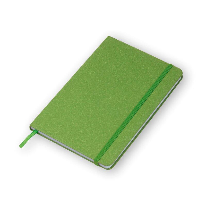 Notizbuch A5, Hardcover in grün - Stiftschlaufe, Lesezeichen, 160 Seiten gepunktet