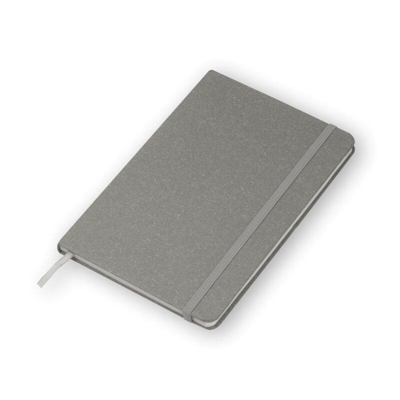 Notizbuch A5, Hardcover in grau - Stiftschlaufe, Lesezeichen, 160 Seiten gepunktet