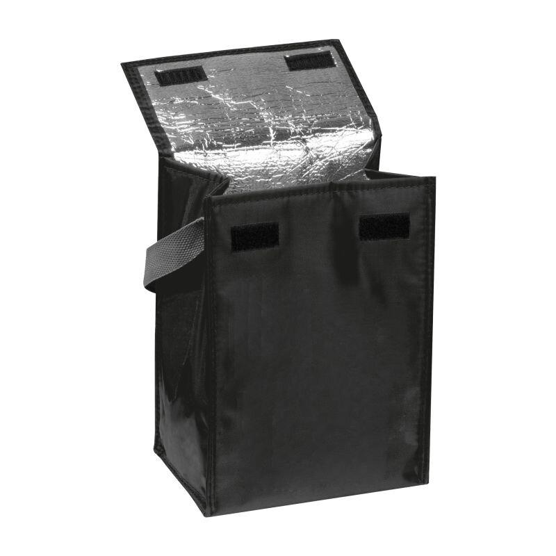 Kleine Kühltasche mit Henkel, faltbar, schwarz