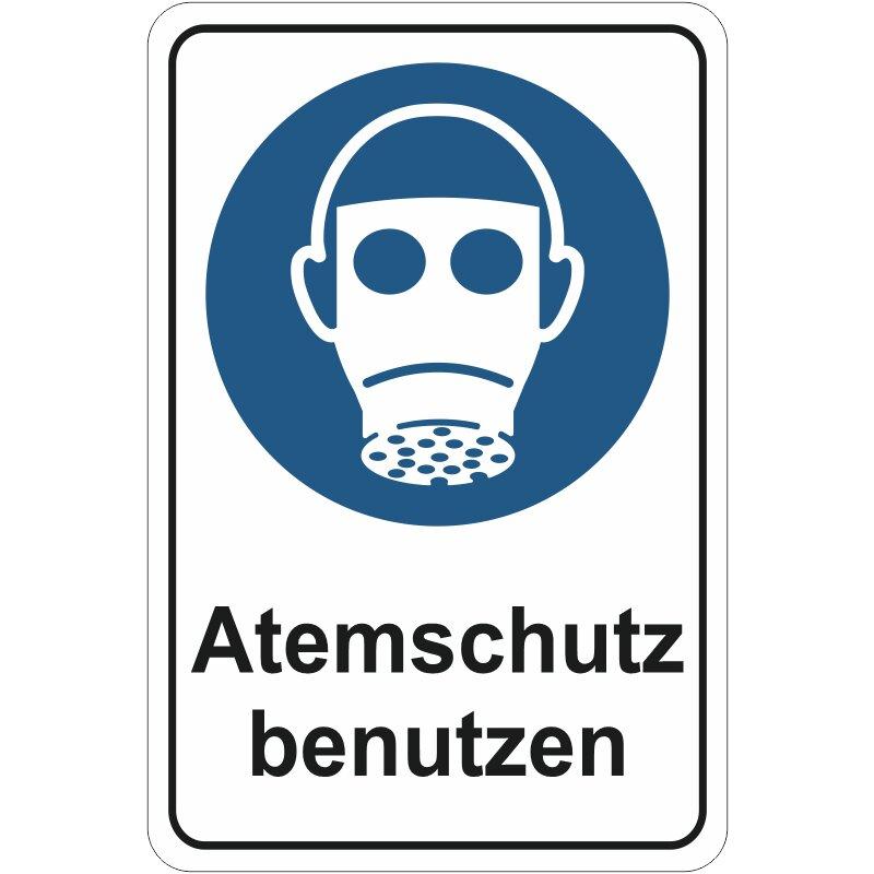 """Aluverbundschild 3 mm dick, """"Atemschutz benutzen"""" Premiumqualität"""