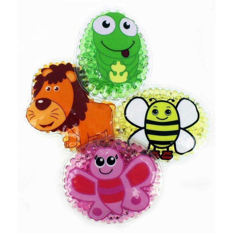 4 Kühlpads Löwe, Biene, Schmetterling, Frosch