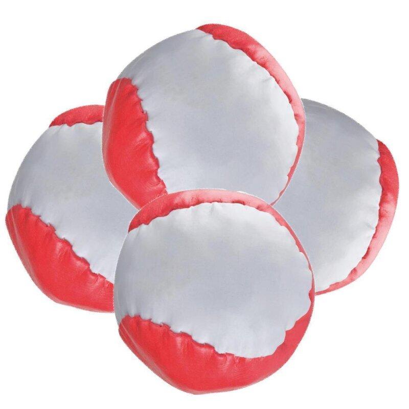 4 Anti-Stress-Bälle Rot-weiß