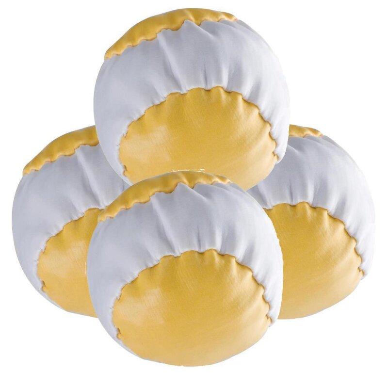 4 Anti-Stress-Bälle Gelb-weiß