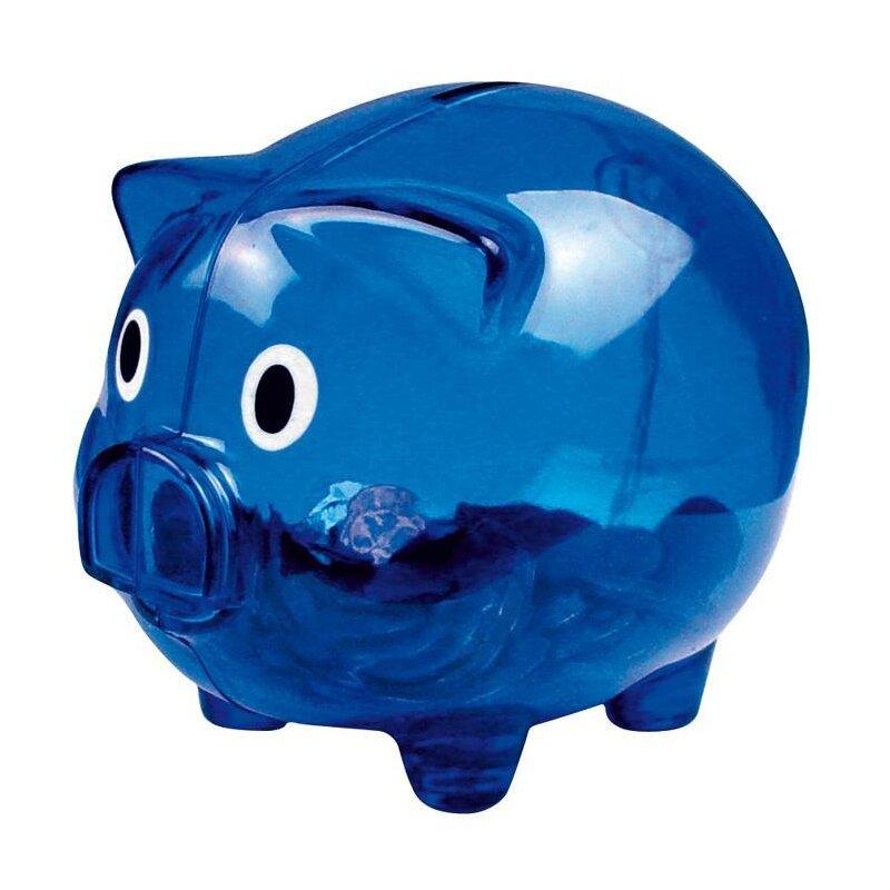 Sparschwein transparent blau