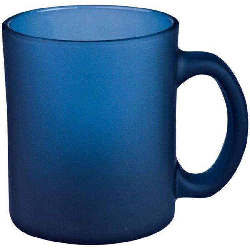 Kaffetasse blau gefrostet aus Glas