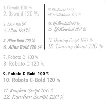 9. Roboto C-Bold  100 %
